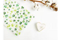 """Тканина польська """"Листки конюшини зелені"""" на білому"""