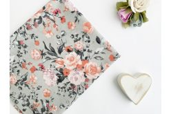 """Ткань польская """"Розы коралловые и пудровые"""" на сером"""