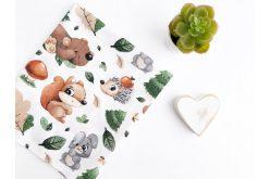 """Ткань польская """"Лесные звери: медведь, еж, белка"""" на белом"""