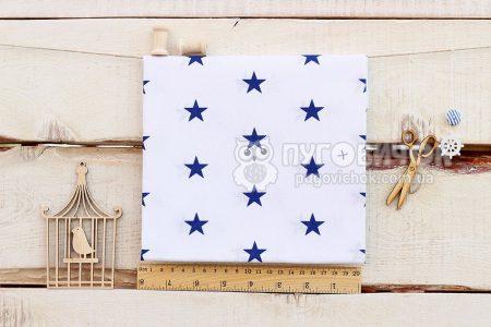 """Тканина польська """"Зірки сині"""" на білому"""