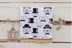 """Тканина П """"Капелюхи вуса і окуляри чорні"""" на білому 160*100см"""