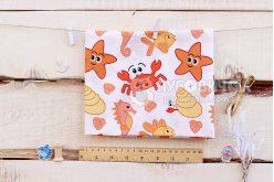 """Ткань польская """"Морские жители оранжевая: крабы, звезды, рыбы"""" на белом"""
