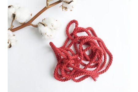 Шнур бавовняний кручений 6 мм червоний