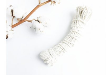 Шнур хлопковый крученый 3 мм белый (20м)