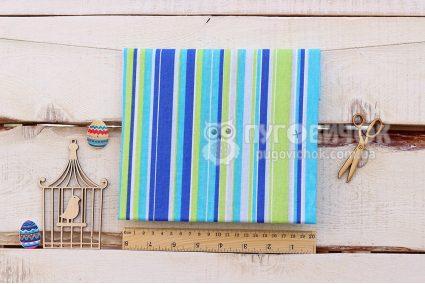 """Тканина П """"Смужки: блакитні, сині, салатові"""" 160*100см"""